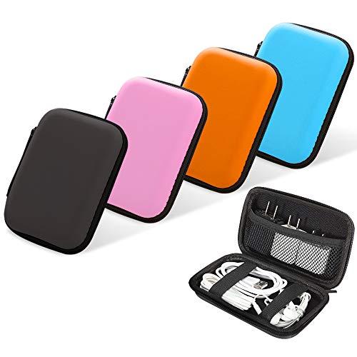 4 bolsas de transporte para auriculares, estuche rígido de transporte, bolsa de almacenamiento con cremallera para cables USB, cosméticos de monedas