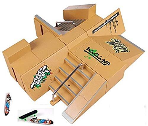 Kidsdreams 8pcs Skate Park Kit Ramp Teile für Griffbrett Mini Finger Skateboard Griffbretter Ultimate Parks mit 3PCS Finger Boards