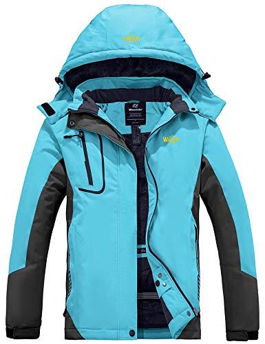 Wantdo Women's Waterproof Mountain Jacket Fleece Windproof Ski Jacket US M Blue Medium
