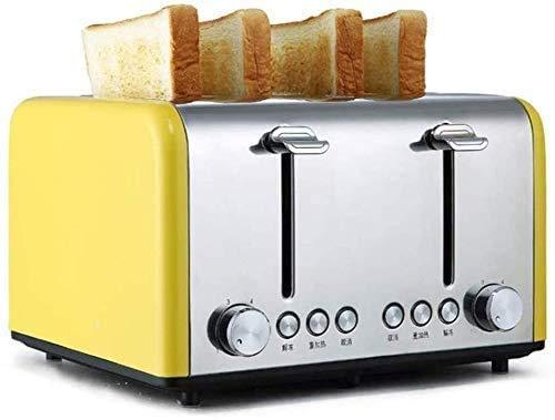 Panaderos, máquina de Pan Desayuno máquina de Pan, hogar automático Tostadora, Acero Inoxidable Tostadora, desplegable Bandeja de residuos (Color: Amarillo) ZHW345