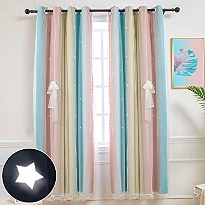 Hughapy Star Curtains Stars Blackout Curtains for Kids Girls Bedroom Living Room Colorful Double Layer Star Cut Out Stripe Window Curtains, 1 Panel -(52W x 63L, Pink/Blue)