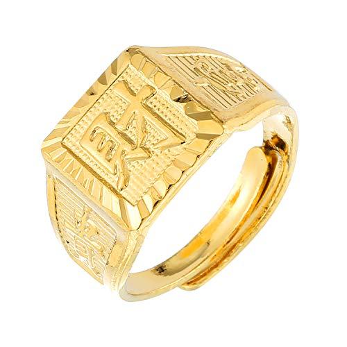 Prime Feng Shui Anello da uomo in rame placcato oro 18 K regolabile Kanji Rich/Luck/Ricchezza anello set porta ricchezza e buona fortuna, Rame, Cai