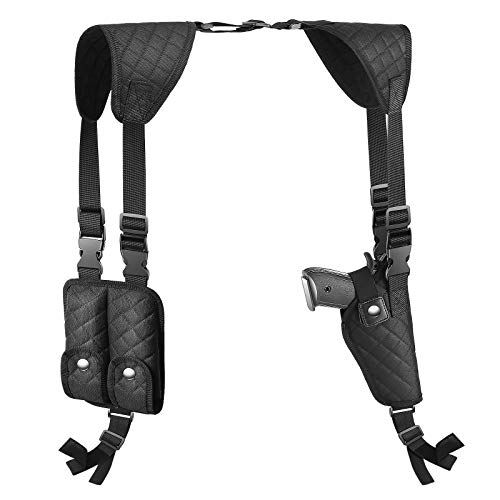 Pvnoocy Shoulder Holster for Pistols Adjustable Vertical Concealed Carry Holster for Men with Double Magazine Pouch Fit 1911,Glock 19, 17,43 Shield 9mm