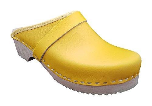 MB Clogs Zuecos suecos originales, tallas 34 – 42, color amarillo, zuecos de madera para hombre y mujer, zapatos de madera, color Amarillo, talla 38 EU