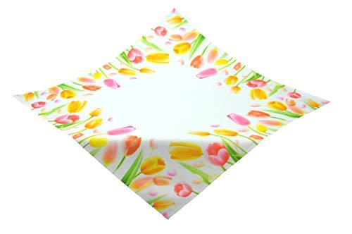 Kamaca, serie floreale - Tovaglia con motivo stampato di alta qualità con meravigliosi tulipani, un gioiello su ogni tavolo in primavera ed estate, Poliestere, multicolore, Tischdecke 85x85 cm Tulpen