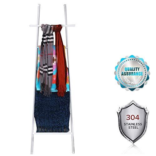 M-TOP Towel Ladder Rack voor Badkamer, Deken Ladder Handdoek Planken Sjaals Display Houder, Gratis Staande Handdoek Rack, Decoratieve Ladder Rack voor Handdoeken, Dekens, Kleding En Tijdschriften