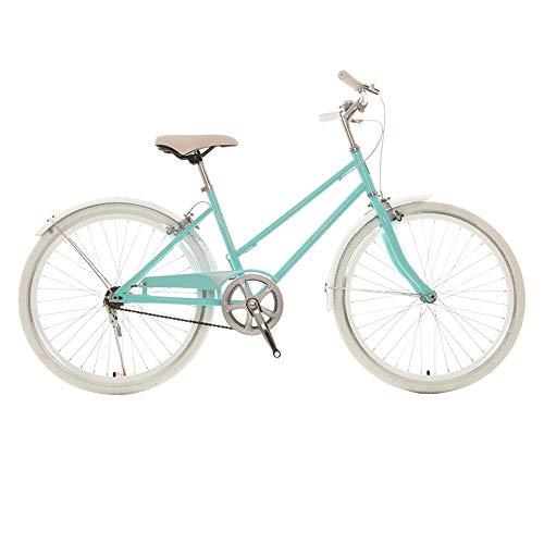 Bicicleta, Bicicleta de Moda de una Sola Velocidad para Viajes Cotidianos, Bicicleta de Ocio de Ciudad de 24 Pulgadas, Asiento Ajustable, para Trabajadores de Oficina/Estudiantes/C / 15
