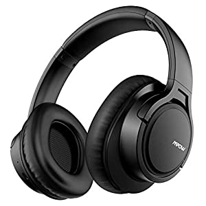 Mpow H7 Bluetooth Headphones Over Ear, Comfortable Wireless Headphones w/Bag, Rechargeable HiFi Stereo Headset, CVC6.0 Headphones with Microphone for Cellphone Tablet(Black)
