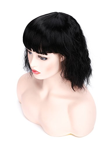 Morvally Short Wavy Black Bob Wig with Bangs Natural Heat Resistant Synthetic Hair Cosplay Costume Party Wigs