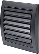 Rejilla de ventilación de 150 x 150 mm con control deslizante, protección contra insectos, rejilla ABS