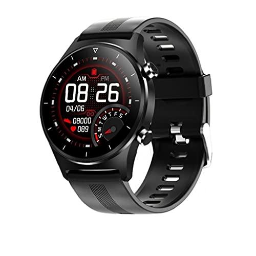 Relojes inteligentes reloj inteligente pantalla redonda reloj de pulsera GPS soporte podómetro pulsera inteligente silicona negro