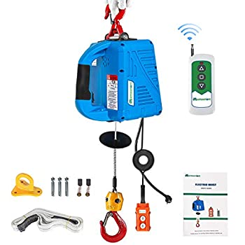 Mxmoonant 1/2 ton Electric Hoist with Remote 110 Volt Electric Winch Portable 25ft 1100lb Three Control Methods