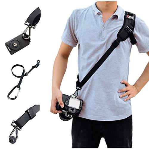 SUPRBIRD Correa de Hombro para cámara, Paquete de fotografía Profesional - ampliada Correa para el Hombro con Placa de Montaje de Correa de Seguridad para cámaras SLR réflex Digital (Black)