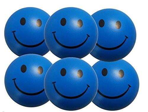 Stressballs 6 x Blaue – Smiley Stress Ball - Antistressball ,Stressballs, Knautschball – Kleiner Ball, Grosse Stresserleichterung