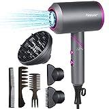 Flintronic Secador de Pelo Plegable y Portátil, 2000W Secador de Pelo Iónico Secador para cabello seco rápidamente, con 2 Boquillas y 1 Difusor, Botón de Aire Frío, 2 Velocidades, 3 Temperaturas
