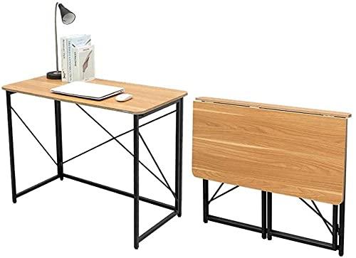 Escritorio plegable con marco de metal industrial, sin montaje, resistente y resistente, para espacios pequeños, computadora, juegos, escritura, estudiante y oficina en casa, organización