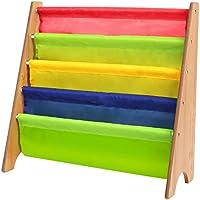 HOMFA Librería Infantil Biblioteca de bolsillos colores Guarda Revistas y Libros 4 Compartimientos Fibra Vulcanizada 62x26.5x61cm