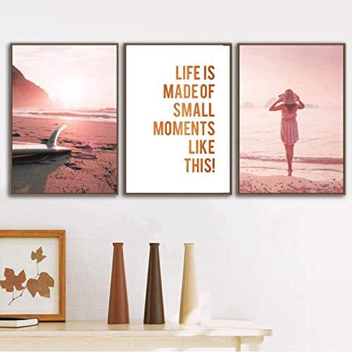 SHSYFBH Impresión de Lienzo Sunset Beach Tabla de Surf Playa de Arena Chica paseando Arte de la Pared Carteles nórdicos Imagen para la decoración de la Sala de Estar 3 Piezas 50x70cm sin Marco
