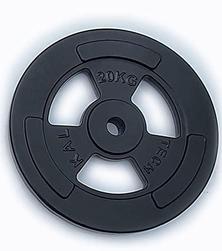 Yate Sport Hantelscheiben Guss mit Griffmulde 5kg 10kg 20kg aus Gusseisen Bohrung 30,5mm mit Eingriffen und Tri-Grip-Design extrem robust (1 x 20kg)