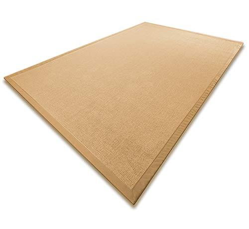 casa pura® Sisal Teppich aus Naturfasern mit Bordüre aus Baumwolle | pflegeleicht | Größe wählbar (Natur, 120 x 180 cm)