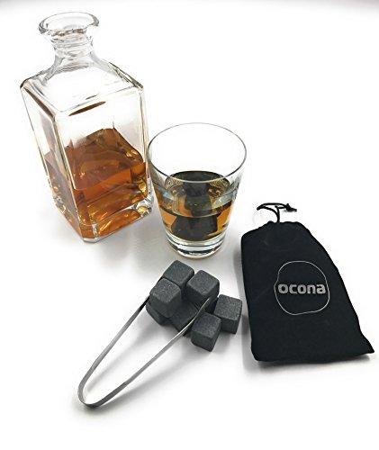 ocona Whisky Steine, wiederverwendbare Eiswürfel mit Eiszange, Speckstein (12 Stück) - 3