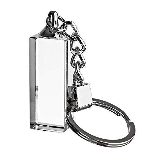CRISTALICA Schlüsselanhänger Glasanhänger Glasblock für Lasergravur Rechteck Pokal 4 cm