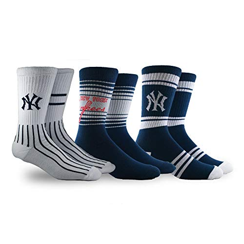 PKWY by Stance Unisex Team 3-Pack Socks (Large, Yankees)