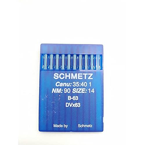 TOMASELLI MERCERIA Schmetz - 10 agujas para máquina de coser industrial NM: 90, tamaño: 14 B-63 DVx63