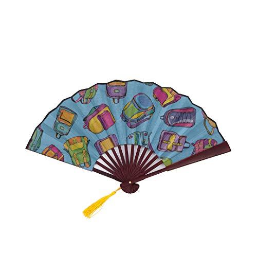 Lajro Hand Fan Travel School Bag Children Backpack Ideas with Bamboo Frame Tassel Pendant and Cloth Bag Hand Kids Fan Best Hand Fan Paper Japanese Fans