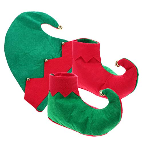 Tomaibaby Niños de Navidad Zapatos de Elfo Sombrero de Navidad Santa Elf Zapatos Y Sombrero Conjunto de Traje de Elfo de Santa Niño Elfo Cosplay Traje Conjunto para Niño Niño Niña