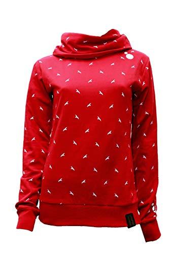 Jumpster Damen Hoodie Turtleneck Sweater Bio-Baumwolle Eco Slim Fit Red Birds Rot L