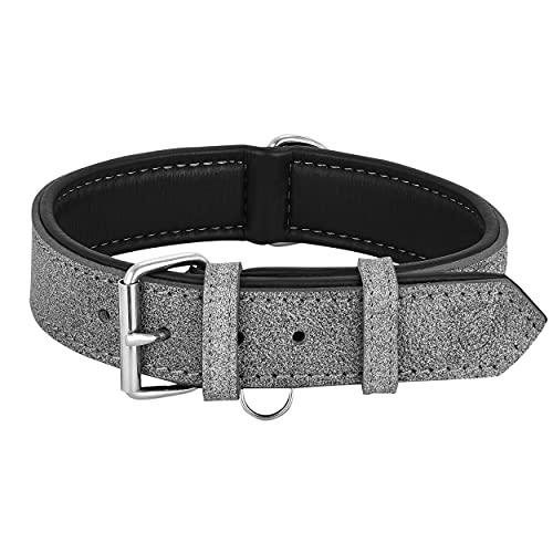 Riparo K-9 Collar para perro, acolchado, piel auténtica, ajustable, duradero (XXL: 5 cm de ancho para cuello de 66 cm a 78 cm, hilo gris/blanco)
