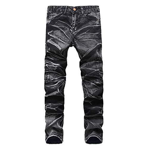 Celucke Herren Jeans Hose,Männer Casual Herbst Vintage Jeanshosen Denim Wash Arbeitshose Reißverschluss Basic Hosen