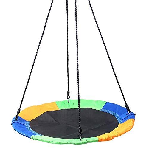 ZCXBHD Schommelbank in de buitenlucht reuzennest web touw hangende boom ronde schommelstoel set hangende touwen verstelbare touwen lengte heavy duty eenvoudig voor kinderen volwassenen inrichten
