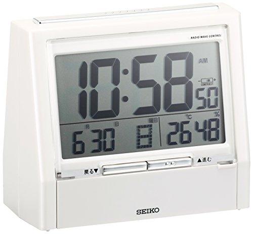 セイコー クロック 目覚まし時計 TALK LINER トークライナー 音声時報 音声アラーム バイリンガル 切替 カレンダー 温度 湿度 表示 電波 デジタル 白 パール DA206W SEIKO