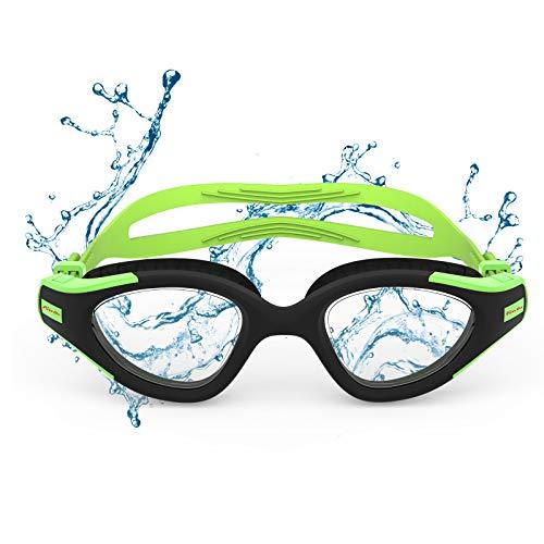 Funní Día Gafas de natación, antiempañamiento, protección UV, visión transparente, triatlón, para adultos, hombres, mujeres, jóvenes, adolescentes