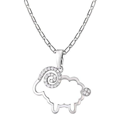 IzuBizu London Womens Silver Plated Sheep White Crystal Trendy Animal Diamond Necklace Luxury Gift Box (Silver)