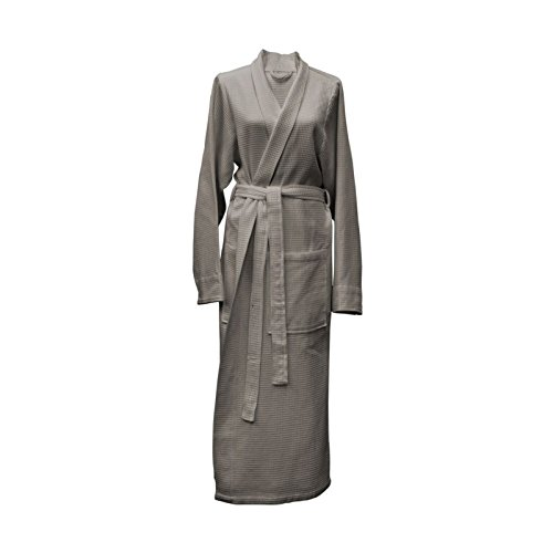 Heckett Lane Badjas Katoen Wafel Lang XL Taupe Grey