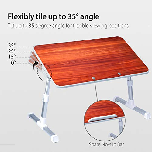 Avantree Quality Adjustable Laptop Table, Portable Standing Bed Desk, Foldable Sofa Breakfast Tray, Notebook Stand Reading Holder for Couch Floor - Minitable American cherry
