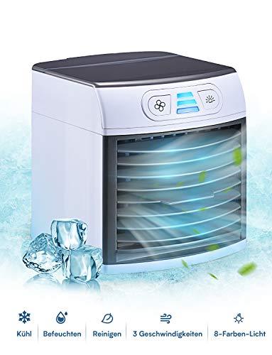 Mini Luftkühler, Homitt Mini Tragbare klimaanlage, 3 in 1 Mini Air Cooler, USB Ventilator Tragber Mobile Klimageräte, 3 Kühlstufen für zu Hause, Büro, Auto, Hotel, Garage, Camping