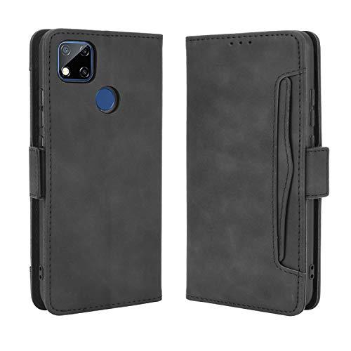 BaiFu Lederhülle für Xiaomi Redmi 9C Hülle, Flip Hülle Schutzhülle Handy mit Kartenfach Stand & Magnet Funktion als Brieftasche, Tasche Cover Etui Handyhülle für Xiaomi Redmi 9C, Schwarz