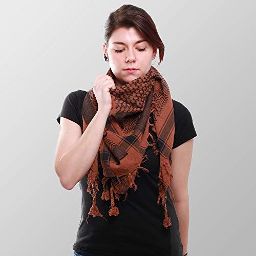 Palituch tweekleurig klassiek PLO sjaal 100x100 cm Pali Palšstener Arafat doek 100% katoen - in alle kleuren (zwart/chocoladebruin)