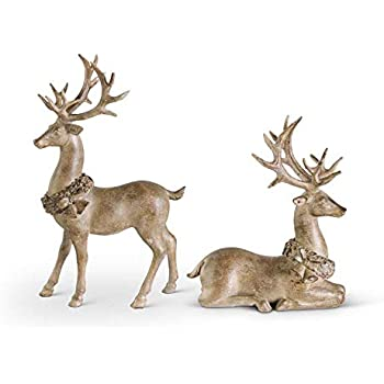 17 and 18 Tall Each PN2539 Silver Sequined Covered Reindeer Sullivans Deer Tabletop Figurines Set of 2 Silver