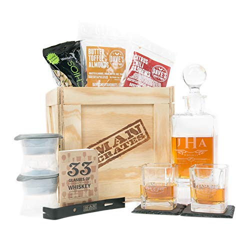 Man Crates Whiskey Appreciation Crate – Includes Personalized Hand-Made Whiskey Decanter,...