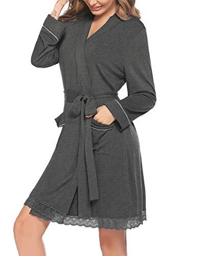 Hotouch Bademantel Damen Kurz Leicht Morgenmantel V Ausschnitt Saunamantel Kimono Neglige mit Taschen Loungewear mit Gürtel Dunkelgrau S