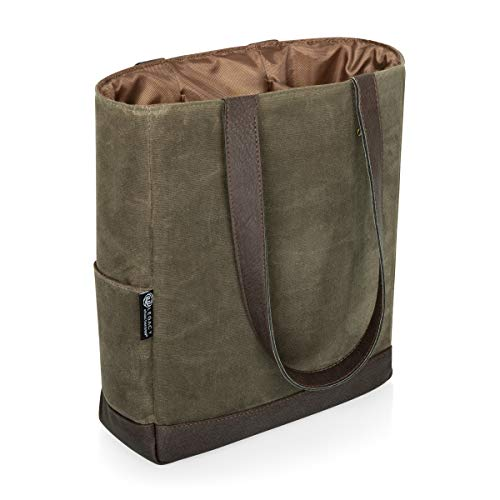 LEGACY - a Picnic Time Brand 3 Bottle Insulated Wine Bag - Distressed Waxed Canvas Wine Tote Bag - Wine Gift Bag