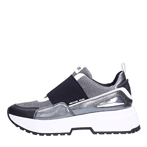 Michael Kors Michael by Cosmo Damen Sneakers aus Leder und Mesh 40 Silber