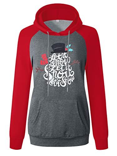 ANRABESS Womens Merry Christmas Hoodie Sweatshirts Xmas Snowman Hat Long Sleeve Regan Shirts A312SD15-hongshenhui-XL