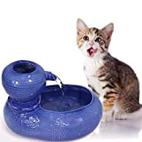 Wistwoxxon Ceramic Cat Drinking Water Fountain, 0.6 Liters /20 oz Pet Water Fountains for Cats and Dogs, Electric Pet Water Dispenser with Quiet Pump