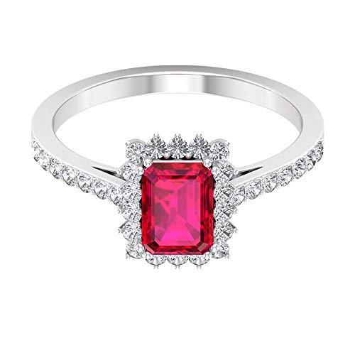 Anillo de corte octágono de 7 x 5 mm, anillo de diamante, anillo de compromiso para ella 14K Oro blanco